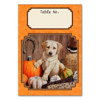 Yellow Lab Pup and Pumpkin Harvest Orange Card