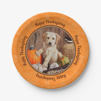 Yellow Lab Pup and Pumpkin Harvest Orange Paper Plate