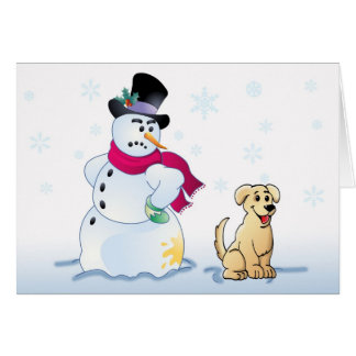 yellow Lab Pup and Snowman Greeting Card