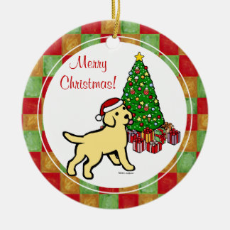 Yellow Lab Puppy and Christmas Tree Ceramic Ornament