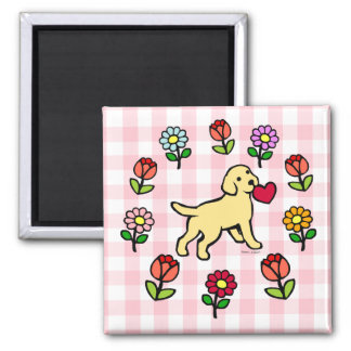 Yellow Lab Puppy and Red Heart 2 Inch Square Magnet