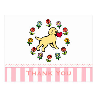 Yellow Lab Puppy and Red Heart Floral Postcard