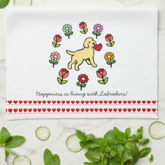 Yellow Lab Puppy and Red Heart Kitchen Towel