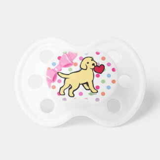 Yellow Lab Puppy and Red Heart Pacifiers