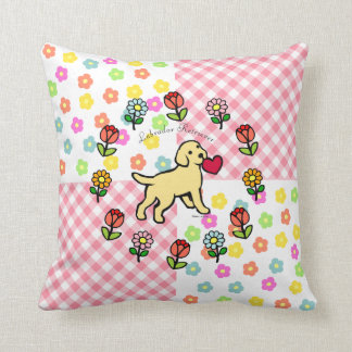 Yellow Lab Puppy and Red Heart Patchwork Throw Pillow