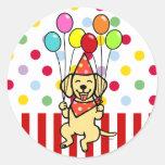 Yellow Lab Puppy Birthday Balloons Classic Round Sticker