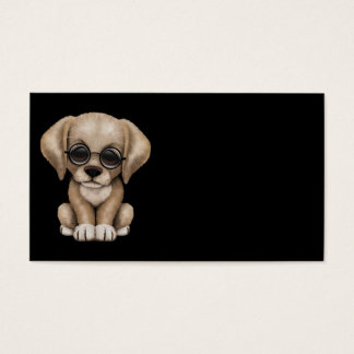 Yellow Lab Puppy Dog with Reading Glasses, black Business Card