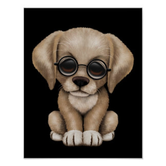 Yellow Lab Puppy Dog with Reading Glasses, black Poster