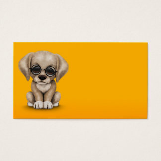 Yellow Lab Puppy Dog with Reading Glasses, yellow Business Card
