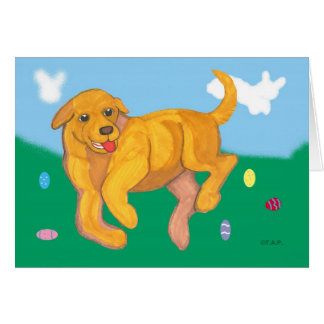 Yellow Lab puppy Easter Greeting Card