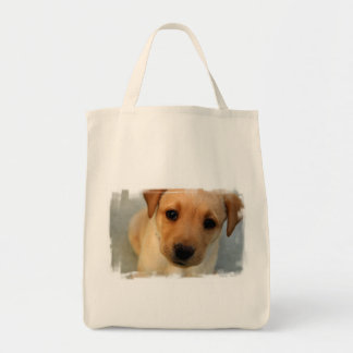 Yellow Lab Puppy Grocery Tote Bag
