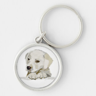 Yellow lab puppy hand drawn Silver-Colored round keychain