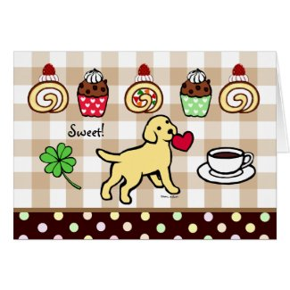 Yellow Lab Puppy Heart Cartoon Card