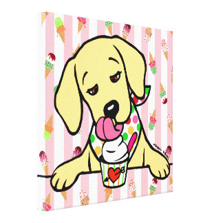 Yellow Lab Puppy Ice Cream Gallery Wrapped Canvas