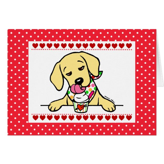 Yellow Lab Puppy Ice Cream Cartoon Card