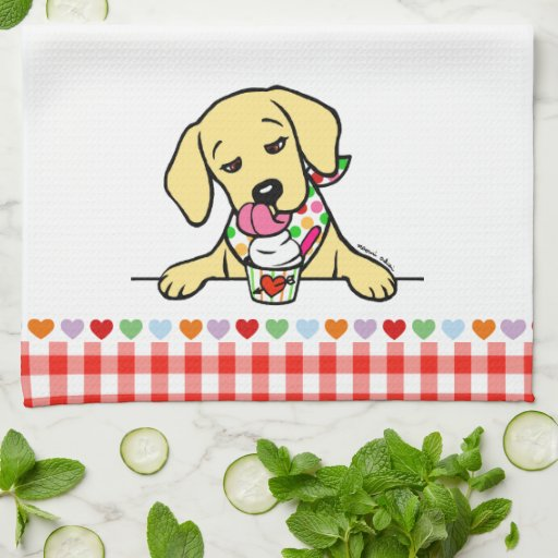 Yellow Lab Puppy Ice Cream Kitchen Towels