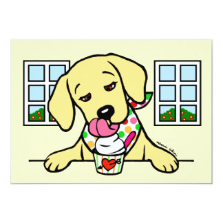 Yellow Lab Puppy Ice Cream Party Card