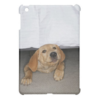 Yellow lab puppy stuck under bed iPad mini covers