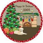 Yellow Lab Puppy's First Christmas Ornament 2009 Photo Sculptures