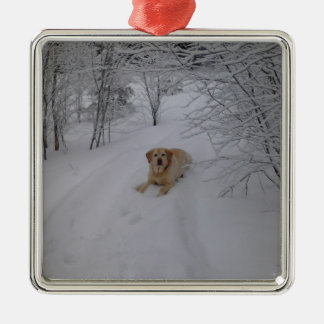 Yellow Lab Relaxing in Fresh Winter Snow Metal Ornament