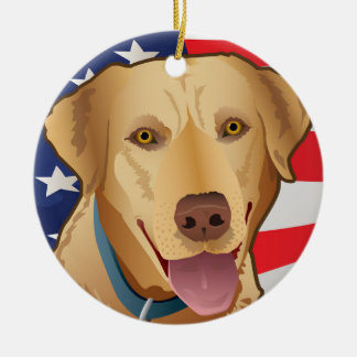 Yellow Lab Retriever of America Ceramic Ornament