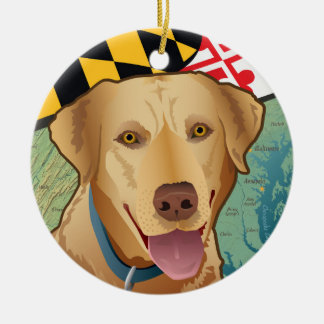 Yellow Lab Retriever of Maryland Ceramic Ornament