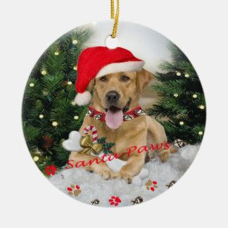Yellow Lab Santa Paws Ornament