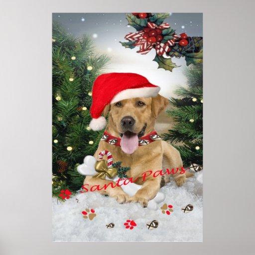 Yellow Lab Santa Paws Poster