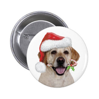 Yellow Lab Santa Pinback Button