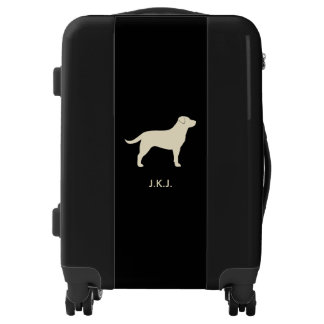 Yellow Lab Silhouette Personalized Luggage