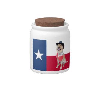 Yellow Lab Texas Flag Candy Jar