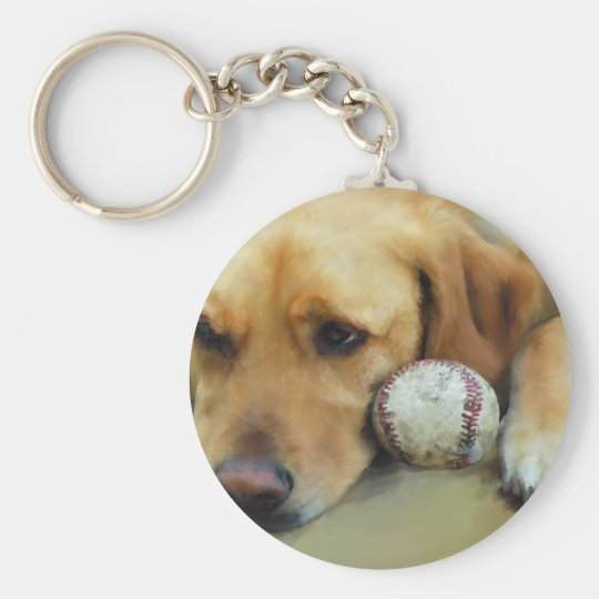 Yellow Lab Waiting To Play Keychain