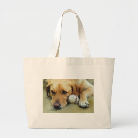 Yellow Lab Waiting To Play Large Tote Bag