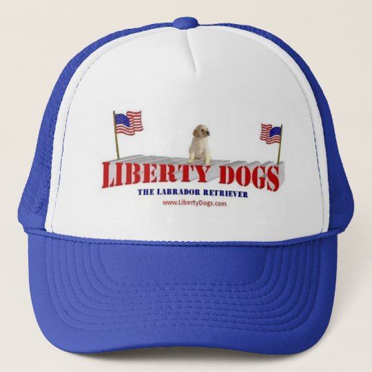 Yellow Lab with Flags Trucker Hat