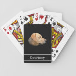 "Yellow Lab with Name on Black Playing Cards<br><div class=""desc"">Yellow Lab with Name on Black Playing Cards. Personalize these custom playing cards by typing your name in the text box.</div>"
