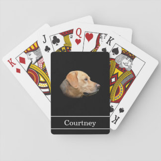 Yellow Lab with Name on Black Playing Cards