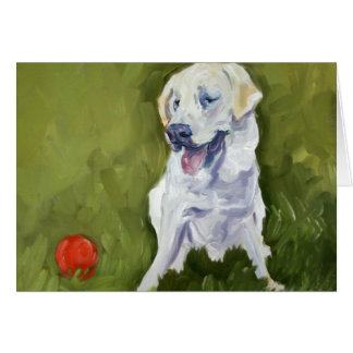 Yellow Lab with Red Ball Stationery Note Card