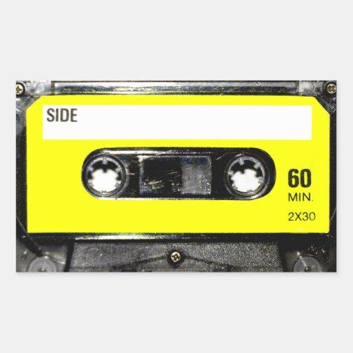 Yellow Label Vintage Cassette Rectangular Sticker