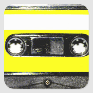 Yellow Label Vintage Cassette Square Stickers