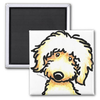 Yellow Labradoodle Art 2 Inch Square Magnet