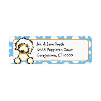 Yellow Labradoodle Blue Dots Label
