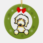 Yellow Labradoodle Christmas Classic Ceramic Ornament