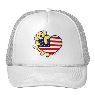 Yellow Labrador American Heart 2 Trucker Hat