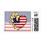 Yellow Labrador American Heart 2 Postage Stamp