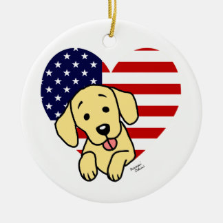 Yellow Labrador American Heart Ceramic Ornament