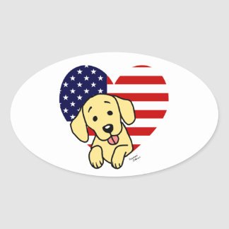Yellow Labrador American Heart Oval Stickers