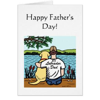 Yellow Labrador and  Dad 2 Card