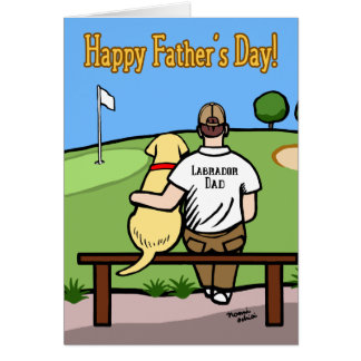 Yellow Labrador and  Dad at Golf Course Brown Hair Card