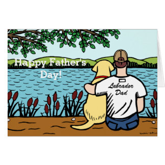 Yellow Labrador and  Dad Card