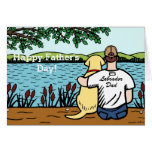 Yellow Labrador and  Dad Greeting Card